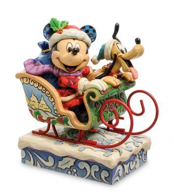 Mickey en père Noël avec Pluto dans le traîneau, boite a musique