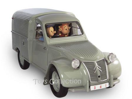 La 2cv camionnette avec Spirou, Fantasio, Spip et le Marsupilami