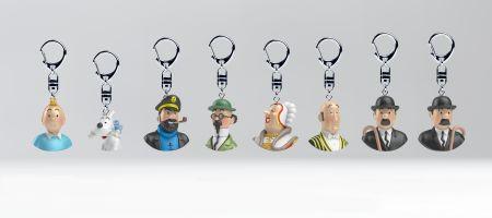 Série de 8 Bustes Tintin et ses amis en porte-clé