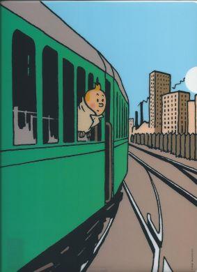 Chemise plastique Tintin dans le train