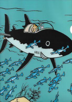 Chemise plastique Le sous marin requin de Tintin