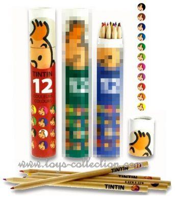Crayons de couleurs Tintin dans une boite cylindrique rouge