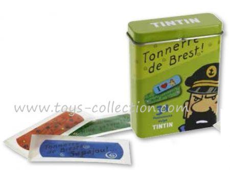 Boite métal verte avec pansements Tintin