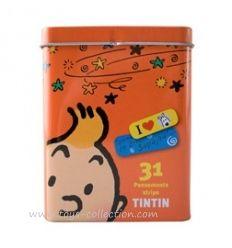 Boite métal orange avec pansements Tintin