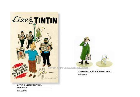 Tournesol tenant le journal Tintin + Milou