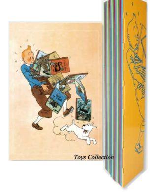 Affiche Tintin portant les albums