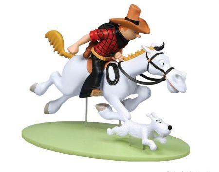 Tintin cowboy a cheval