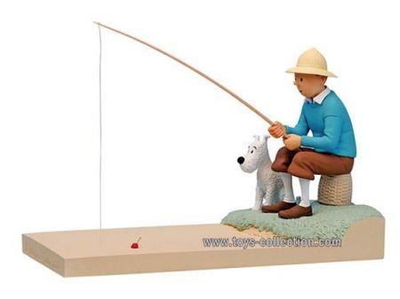 Tintin à la pêche