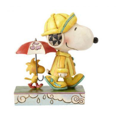 Snoopy et Woodstock sous la pluie