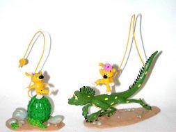 Bibi sur le cactus et Bibu sur l'iguane