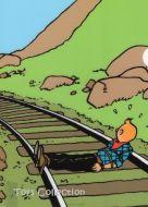 Chemise plastique Tintin attaché sur la voie ferrée