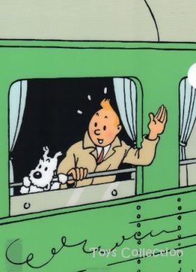 Chemise plastique Tintin et Milou à la fenêtre du train