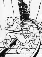 Chemise plastique Tintin et Milou courent devant le train