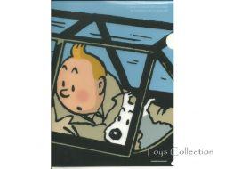 Chemise plastique Tintin et Milou dans le cockpit