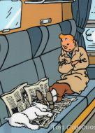 Chemise plastique Tintin et Milou dorment dans le train