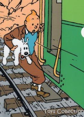 Chemise plastique Tintin et Milou sur le marche pied du train