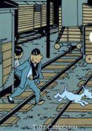 Chemise plastique Tintin et Tchang sur la voie ferree