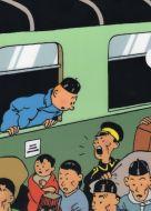Chemise plastique Tintin lotus bleu dans le train