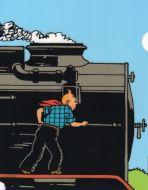 Chemise plastique Tintin sur le train