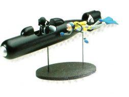 Fantasio en plongeur et le sous marin bleu torpille