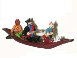 La pirogue avec Tintin, Haddock et Zorrino #