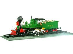 Lucky Luke sur la locomotive et J.Jumper