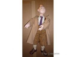Marionnette Tintin en imperméable #