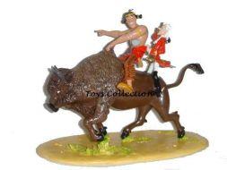 Oumpa-pah et Hubert chevauchant le bison