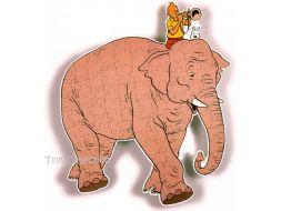 Puzzle Tintin sur l'éléphant #