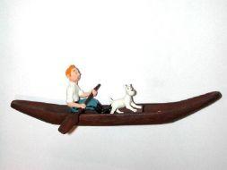 Tintin, Milou dans la pirogue #