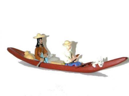 Tintin, Milou et Caraco en pirogue #